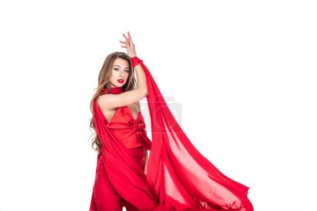 elegant girl posing in red clothes, isolated on white