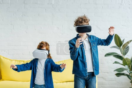 Kids in vr glasses using 3d technology