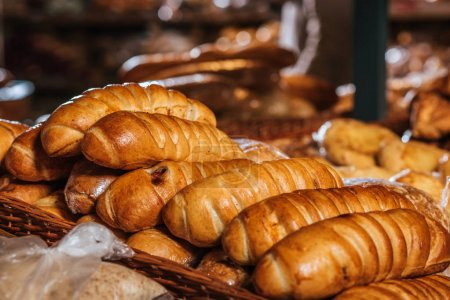 Photo for Close up view of freshly baked bakery in supermarket - Royalty Free Image