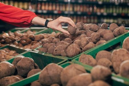Partial view of shopper choosing fresh raw beets in hypermarket