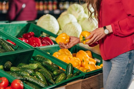 Partial view of shopper choosing fresh raw bell peppers in hypermarket