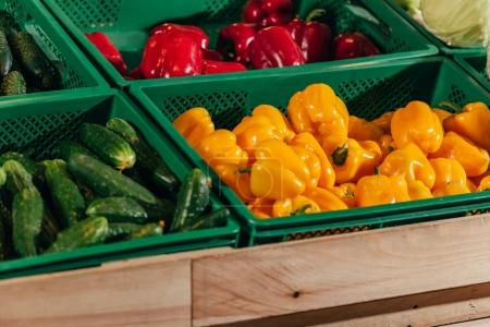 close up view of arranged fresh vegetables in grocery shop