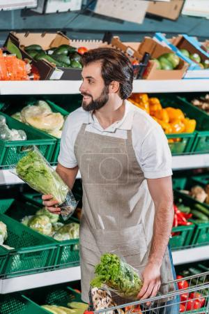 smiling shop assistant arranging fresh vegetables in grocery shop