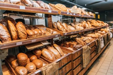 Photo for Close up view of freshly baked bakery in hypermarket - Royalty Free Image