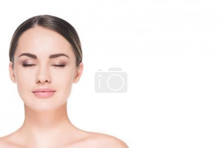 Photo pour Attrayant jeune femme avec les yeux fermés isolé sur blanc - image libre de droit