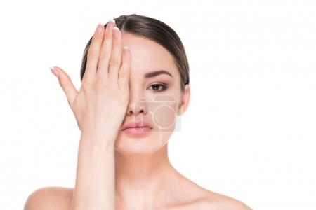 beautiful young woman with dotted line drawn on face for plastic surgery covering half of face with hand isolated on white