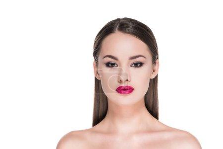 Photo pour Belle jeune femme avec le maquillage élégant isolé sur blanc - image libre de droit