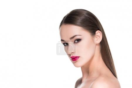 sensual young woman looking at camera isolated on white