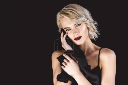 Photo for Attractive blonde girl, isolated on black - Royalty Free Image