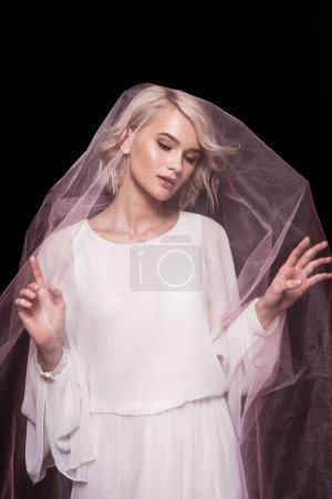 blonde girl posing in pink veil, isolated on black