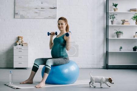 Photo pour Jolie femme enceinte exercice avec haltères sur ballon de fitness dans la salle de séjour - image libre de droit