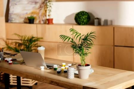 interior of artist studio with painting supplies, laptop and potted plant on wooden table