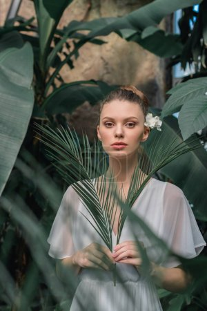 stylish young woman in white summer dress posing with tropical palm leaves