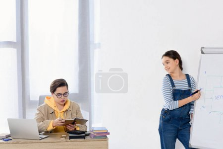 teenagers studying together in living room at home