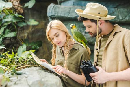 attractive young couple in safari suits with parrot trying to navigate in jungle