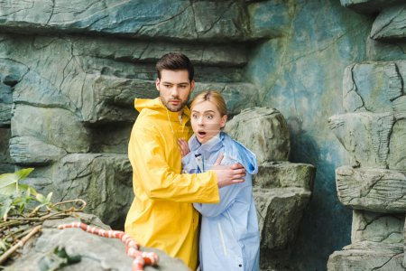 emotional young couple in raincoats terrified of snake