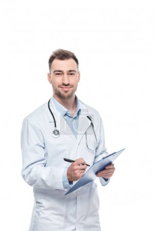young male doctor with stethoscope and diagnosis isolated on white background