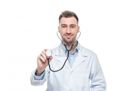 young smiling male doctor with stethoscope isolated on white background
