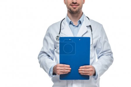 cropped shot of male doctor with stethoscope and clipboard isolated on white background
