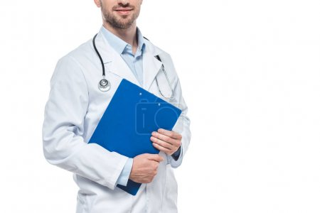 cropped image of male doctor with stethoscope and clipboard isolated on white background