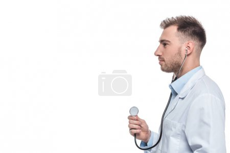 side view of male doctor with stethoscope isolated on white background