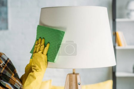 cropped image of woman dusting lamp with rag at home