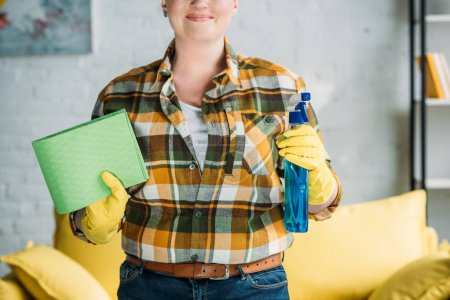 cropped image of woman holding rag and spray bottle for cleaning at home