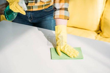 Foto de Recortar imagen de mujer de limpieza mesa con atomizador y trapo en el país - Imagen libre de derechos
