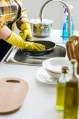 cropped image of woman washing frying pan in kitchen