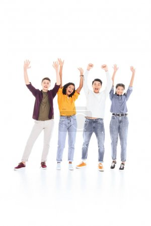 cheerful multicultural teenagers with outstretched arms isolated on white