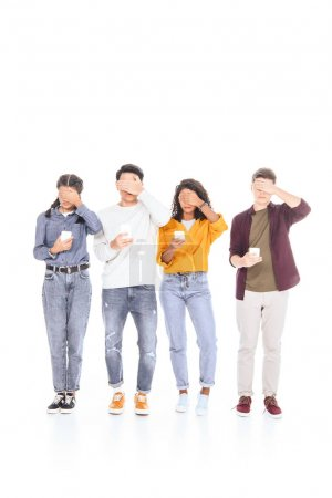 obscured view of teen friends with smartphones isolated on white