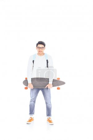 asian teenager with backpack and skateboard isolated on white