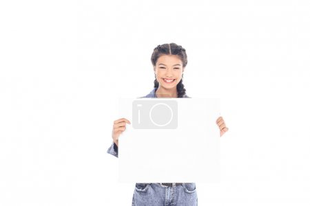 portrait of smiling teenager with blank banner in hands isolated on white