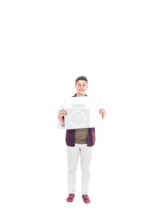 smiling teenager with empty banner in hands isolated on white
