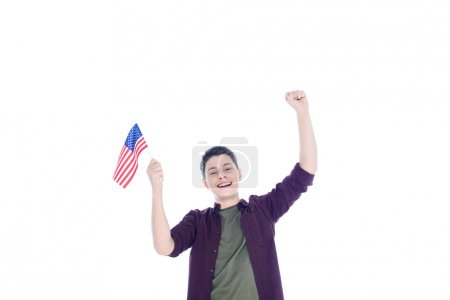 happy teenage student boy with usa flag isolated on white