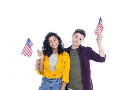 adolescent émotionnel étudiants avec Etats-Unis drapeaux isolés sur blanc