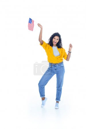 happy teenage african american student girl with usa flag isolated on white
