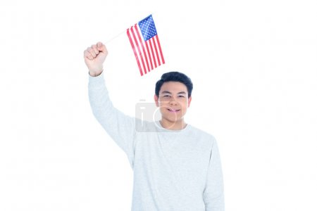 happy teen asian student boy with usa flag isolated on white