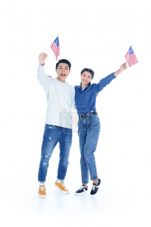teenage students with usa flags isolated on white