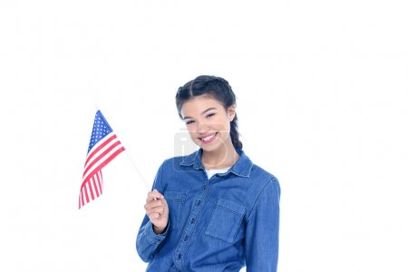 smiling teenage student girl with usa flag isolated on white