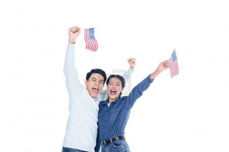Photo pour Heureux élèves adolescentes avec des drapeaux usa isolé sur blanc - image libre de droit