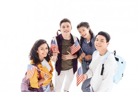 multiethnic teen students holding usa flags isolated on white