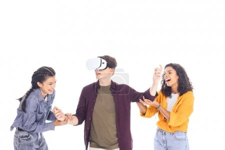excited teenage students having fun with vr headset isolated on white