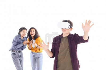 laughing teenage students having fun with vr headset isolated on white