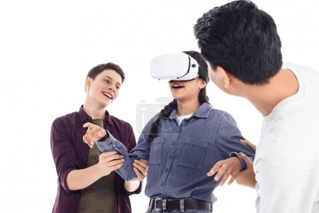 happy teenage students having fun with vr headset isolated on white