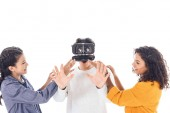 teenage students having fun with vr headset isolated on white