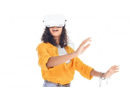 excited teenage african american student girl with vr headset isolated on white