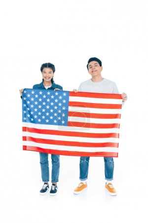 happy teenage students holding usa flag isolated on white