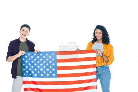 happy teenage students with usa flag isolated on white