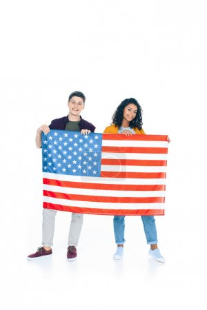 smiling teenage students with usa flag isolated on white